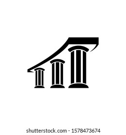Three pillar flat logo template, white and black logo element, law justice logo icon, building construction architecture logo