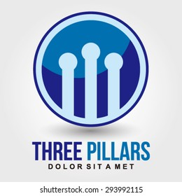 Three pillars logo element innovative and creative inspiration for business company.