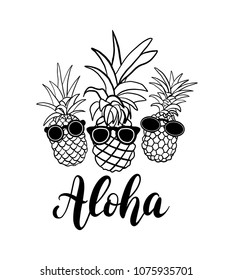Three pineapple fruit with calligraphy word Aloha. Tropical summer vacation collection. Design for print. Black and white Vector illustration text Graphic printed tee