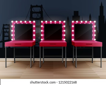 Three pink makeup mirrors with tables on background with new york wallpaper realistic composition vector illustration