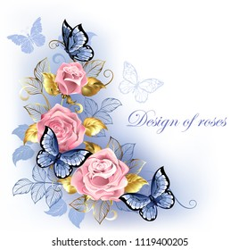 Three pink roses with blue and gold leaves, with blue butterflies sitting on them on white background. Rose Quartz and serenity.
