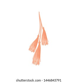 Three pink tassels. Vector illustration on white background.