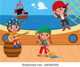 Three pirates having fun on the deck. (Vector illustration)