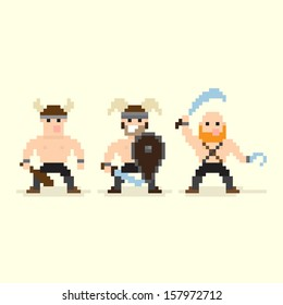 Three pixel art barbarian characters standing in different stances