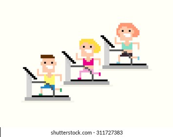 Three pixel art characters, male and female, running on the treadmill