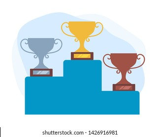 Three places gold silver and bronze. Winners concept. Vector flat graphic design cartoon illustration