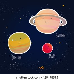 Three planets and Jupiter, Saturn, Mars on a dark background with stars. Vector illustration.