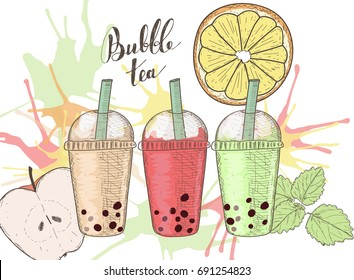 Three plastic cups with bubble tea, fruits and colorful splashes