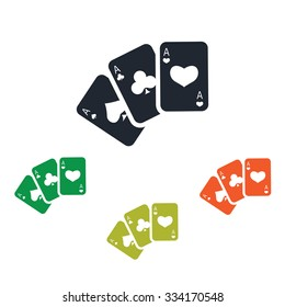 Three playing cards icon