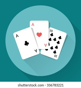 Three Playing Cards. Long shadow vector icon.