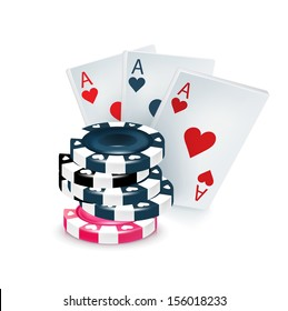 three playing cards with poker chips isolated on white