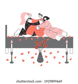 Three polyamorous people making sex concept. Nonmonogamous relationship, bigamy and polygamy Valentine day romantic date isolated flat vector illustration. LGBT diversity and free love rights pride.