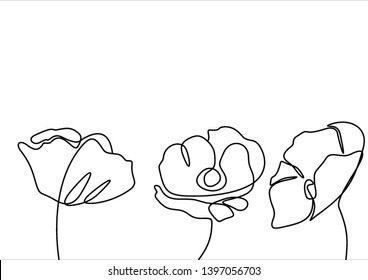 Three poppies continuous line drawing