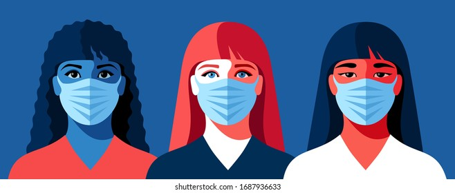 Three portraits of young women in medical face masks. Concept of corona-virus quarantine. Vector illustration
