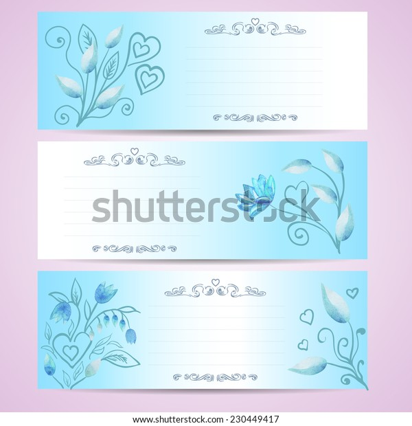three postcards blue color with watercolor flowers - vector illustration can be used as wedding invitations or birthday cards