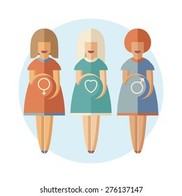 Three pregnant women with a different gender symbols on their stomachs. Good for statistic illustration, for infographic or for medical brochures and other medical print and advertising materials.