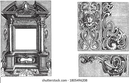 Three prints on a two-part album page. On the left an architectural frame with the tools of a furniture maker in the foreground, vintage engraving.