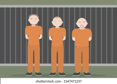 Three prisoners in orange jumpsuits standing with hands behind. Vector illustration.
