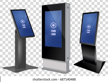 Three Promotional Interactive Information Kiosk, Advertising Display, Terminal Stand, Touch Screen Display isolated on transparent background. Mock Up Template.