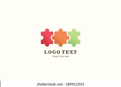 Three Puzzle Logo Design for Kindergarten Mascot and Kids Care organization Branding identity