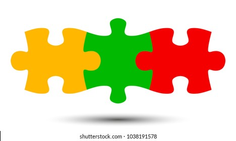 Three puzzle, teamwork, partnership, cooperation - stock vector