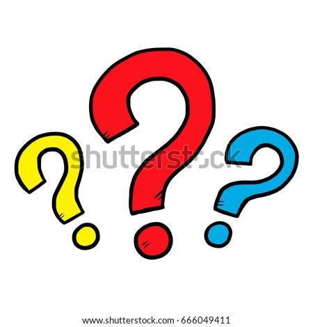 Three Question Mark Cartoon Vector Illustration Stock Vector