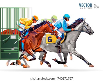 Three Racing Horses Competing With Each Other Motion Blur To Accent Speed Start