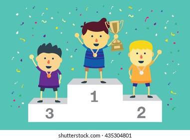 Three ranking winner kids standing on the winning podium holding up winning trophy.