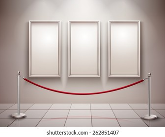 Three realistic empty picture frames with stanchion museum exhibition background vector illustration
