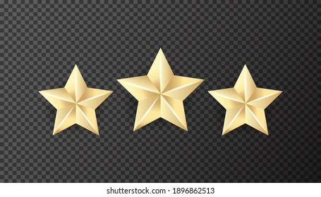 Three realistic golden stars on the transparent background Vecto