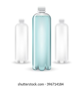 Three realistic mock up white plastic bottle with clean blue watter on white background. Vector illustration with depth of field effect