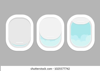 Three realistic portholes of airplane with open and closed window. View from the airplane window to the clouds. View from the porthole. Vector illustration.
