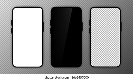 Three realistic smartphone mockup set. Mobile phone blank, white, transparent screen design on transparent background. Black frame. Vector