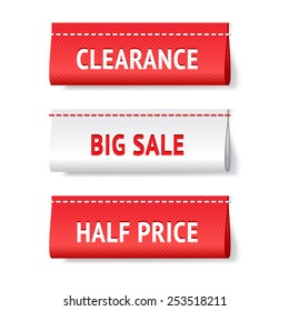 Three realistic textile red and white vector labels; big sale, clearance and half price  tags; bright shopping web design elements