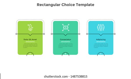 Three rectangular elements or cards placed in horizontal row. Diagram representing 3 phases of business strategy. Minimal infographic design template. Flat modern vector illustration for presentation.
