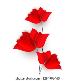 Three red abstract flowers, poppies, tulips or roses. Spring bright paper cut style 3d vector holiday design card or wallpaper isolated on white background