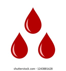 Three red blood drops / droplets flat vector icon for medical apps and websites
