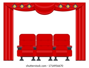 Three red comfortable armchairs in the cinema. Cinema seats illustration. Auditorium in a cinema or theater. Scene with red curtains. Spotlights under the ceiling. Flat vector cartoon objects.