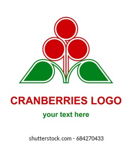 Three red cranberries, bilberries or huckleberries with leaves minimalist logo design concept. Wild forest berries logotype template. Vector design element isolated on white background.