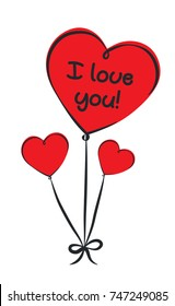 Three red heart balloons with text i love you.