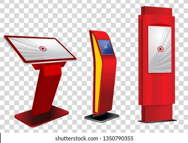 Three Red Promotional Interactive Information Kiosk, Advertising Display, Terminal Stand, Touch Screen Display isolated on transparent background. Mock Up Template.