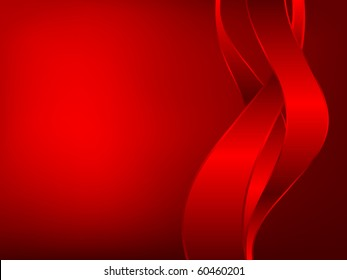 three red ribbons on dark background