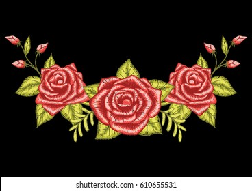 Three red roses embroidery design on black background. Stock Vector