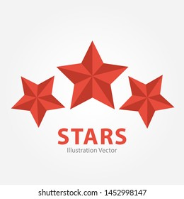 Three Red Stars illustration Vector