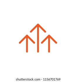 three red thin arrows up icon. Isolated on white. Upload icon.  Upgrade sign. Growth symbol. North pointing arrow.