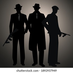 Three retro style men silhouettes, wearing hat and cap. Gangsters with submachine gun. Mafia. 1920s and 1930s style.