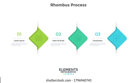 Three rhombus elements placed in horizontal row. Concept of 3 successive steps of business development progress. Modern infographic design template. Simple flat vector illustration for presentation.