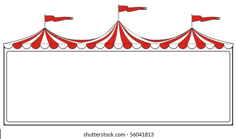 Three ring circus tent sign for advertising or promotion or carnival signs