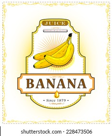 Three ripe bananas on a juice or fruit product label or emblem, EPS 10