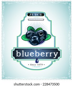 Three ripe blueberries on a juice or fruit product label or emblem, EPS 10